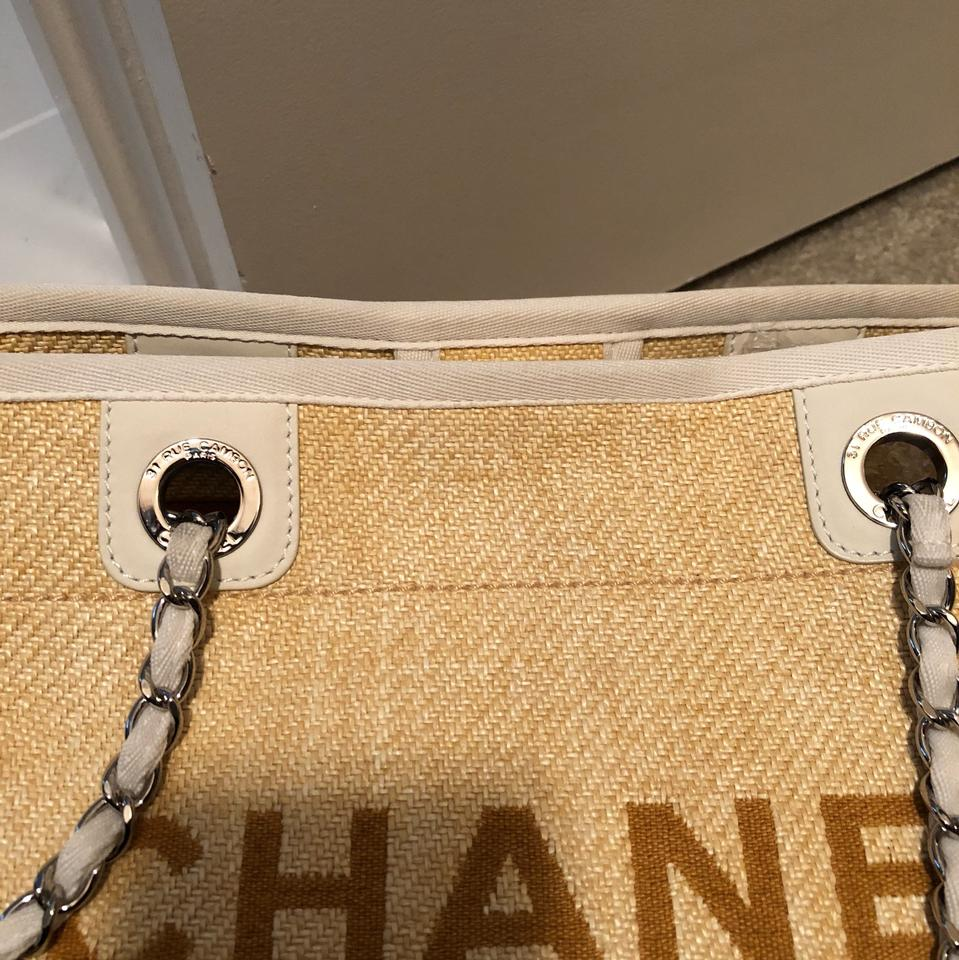 0af6ee1d718072 Chanel Deauville Raffia Spring Tote in yellow and ivory Image 9. 12345678910