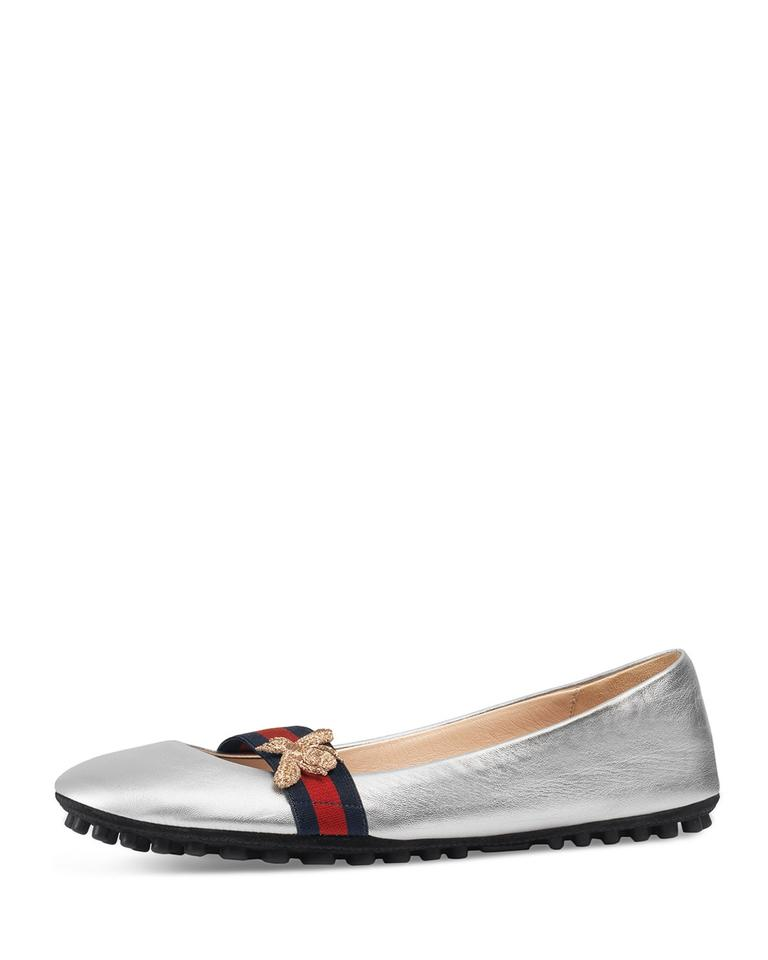 91d7fb793664 Gucci Silver New Bayadere 417668 Leather Ballet G 35 Flats Size US 5 ...