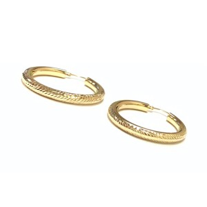 other (017) 14K Yellow Gold Pave` Hoop Earrings