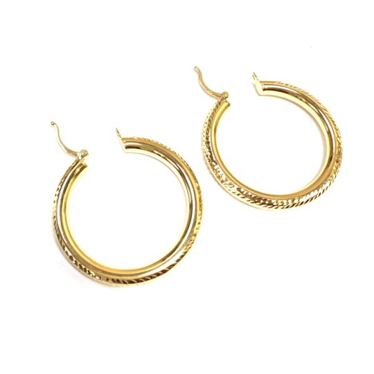 other (017) 14K Yellow Gold Pave` Hoop Earrings Image 1