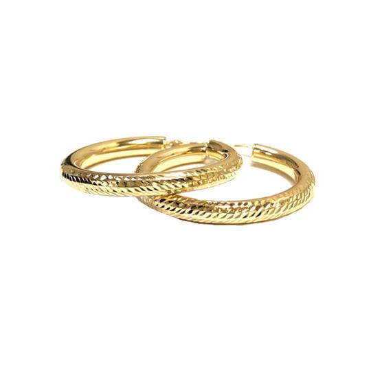 other (017) 14K Yellow Gold Pave` Hoop Earrings Image 2