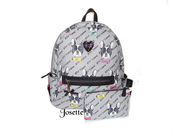 Item - French Bull Dog Print Large Gray Faux Leather Backpack