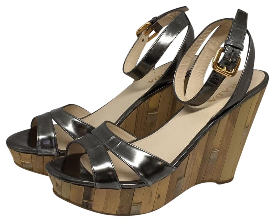3a2e4838673 Prada Pewter and Bamboo Metallic Ankle-strap Wedges Size US 7.5 ...