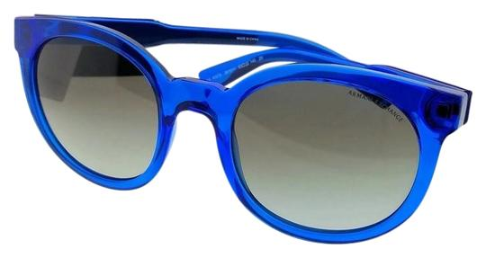 A|X Armani Exchange AX4057S-821011-53 Round Unisex Blue Frame Grey Lens Sunglasses NWT Image 0