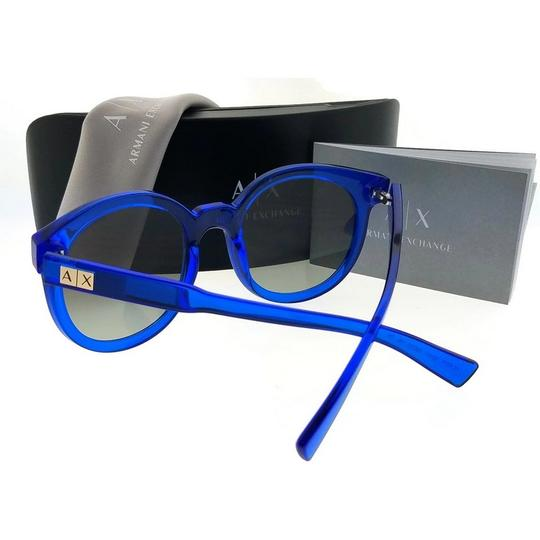 A|X Armani Exchange AX4057S-821011-53 Round Unisex Blue Frame Grey Lens Sunglasses NWT Image 1