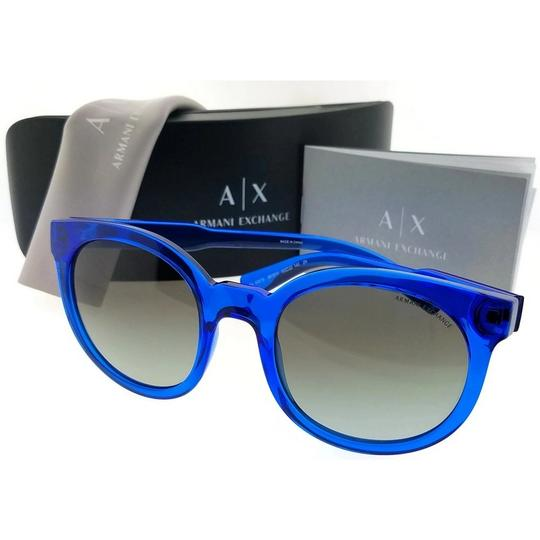 A|X Armani Exchange AX4057S-821011-53 Round Unisex Blue Frame Grey Lens Sunglasses NWT Image 2