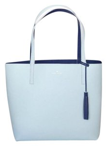 Kate Spade Reversible Leather Islandwaters Tote in Navy Turquoise