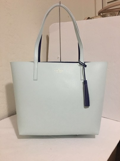 Kate Spade Reversible Leather Islandwaters Tote in Navy Turquoise Image 1
