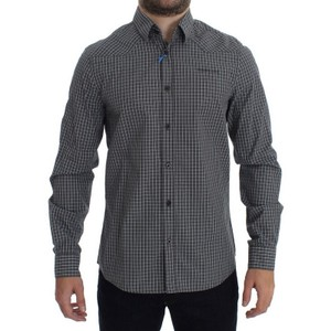 Versace Jeans Collection Gray D17863-1 Checkered Slim Fit Cotton (48 / M) Shirt