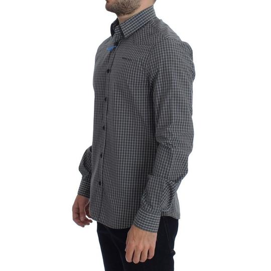 Versace Jeans Collection Gray D17863-1 Checkered Slim Fit Cotton (48 / M) Shirt Image 1
