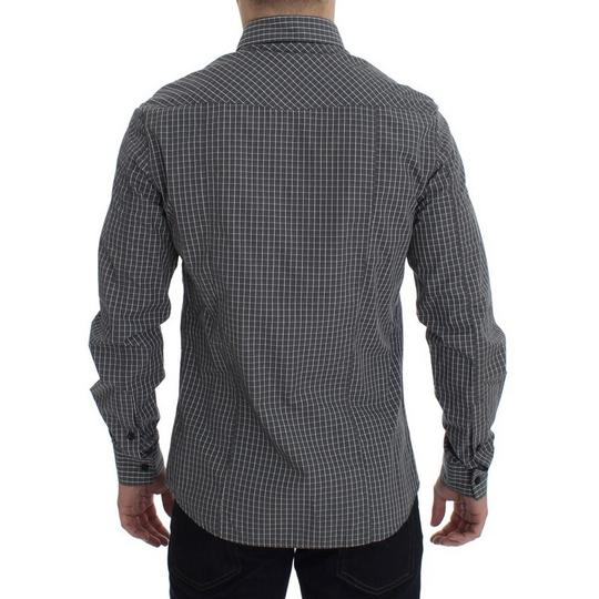 Versace Jeans Collection Gray D17863-1 Checkered Slim Fit Cotton (48 / M) Shirt Image 2