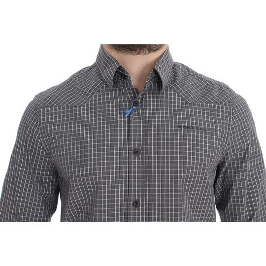 Versace Jeans Collection Gray D17863-1 Checkered Slim Fit Cotton (48 / M) Shirt Image 3