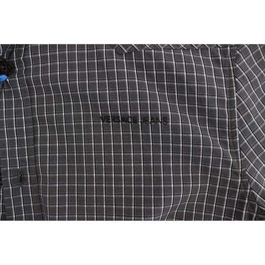 Versace Jeans Collection Gray D17863-1 Checkered Slim Fit Cotton (48 / M) Shirt Image 4