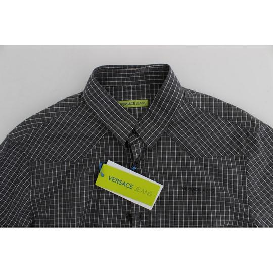 Versace Jeans Collection Gray D17863-1 Checkered Slim Fit Cotton (48 / M) Shirt Image 5