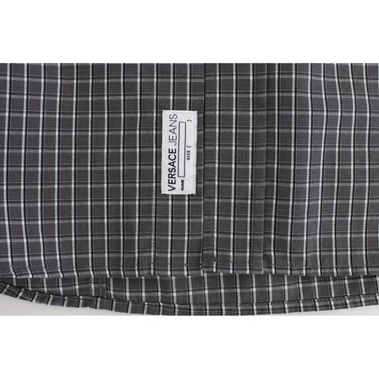 Versace Jeans Collection Gray D17863-1 Checkered Slim Fit Cotton (48 / M) Shirt Image 6