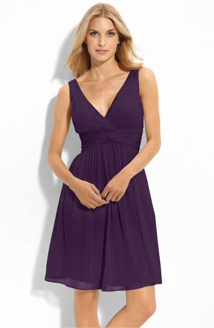 Item - Deep Purple (Amethyst) Silk Chiffon Jessie Formal Bridesmaid/Mob Dress Size 8 (M)