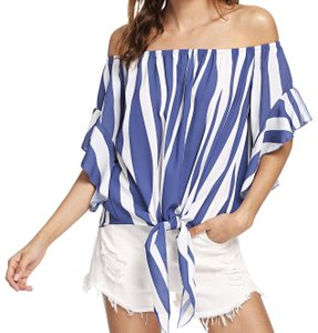 SheIn Top Blue and white