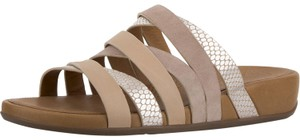 Fitflop Leather Slide Snake Embossed Peach Sandals