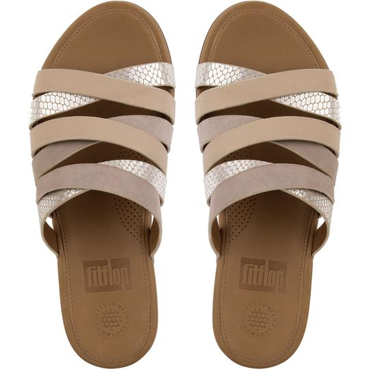 Fitflop Leather Slide Snake Embossed Peach Sandals Image 1