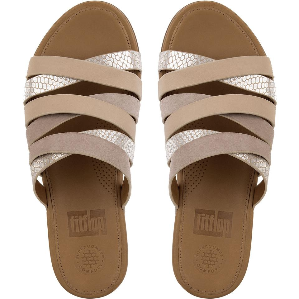 61df53312 FitFlop Leather Slide Snake Embossed Peach Sandals Image 4. 12345. 1 ∕ 5