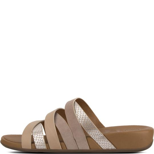 Fitflop Leather Slide Snake Embossed Peach Sandals Image 2