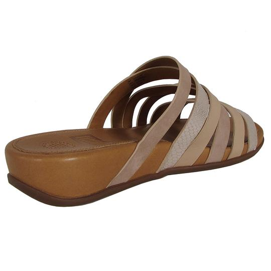 Fitflop Leather Slide Snake Embossed Peach Sandals Image 3