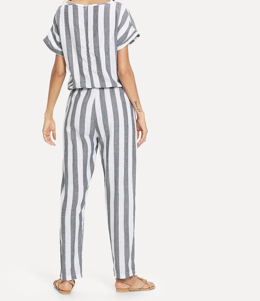 e53b5ad4350 SheIn Gray and White Batwing Sleeve Stripe Romper Jumpsuit - Tradesy