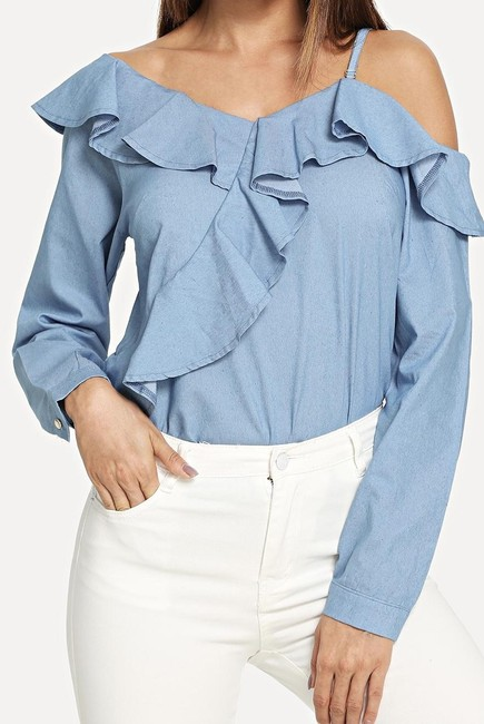 SheIn One Shouler Top Blue Image 0