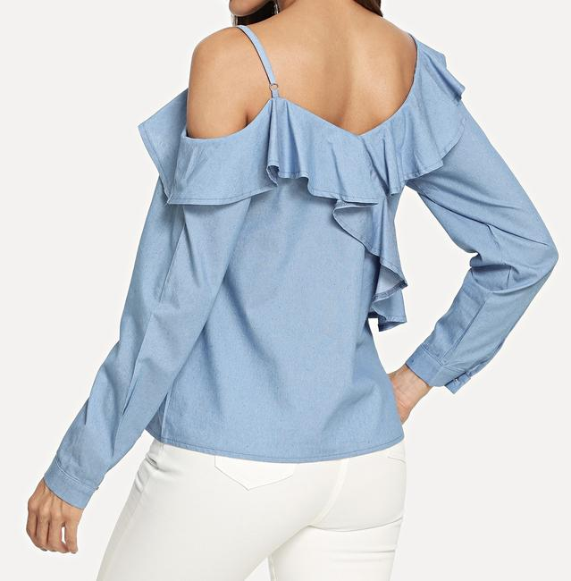 SheIn One Shouler Top Blue Image 2