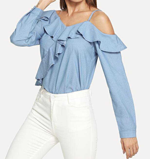SheIn One Shouler Top Blue Image 3