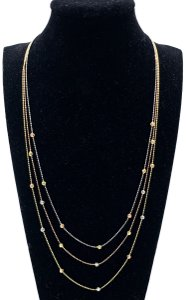 other (021) 14K Tri Color Gold Beaded Necklace