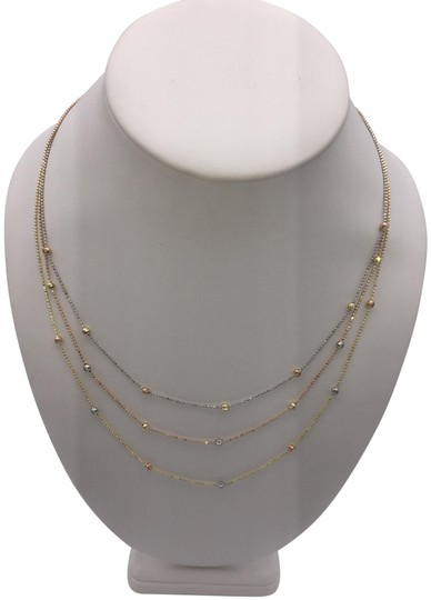 other (021) 14K Tri Color Gold Beaded Necklace Image 1