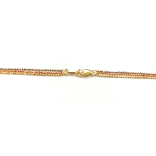 other (021) 14K Tri Color Gold Beaded Necklace Image 2