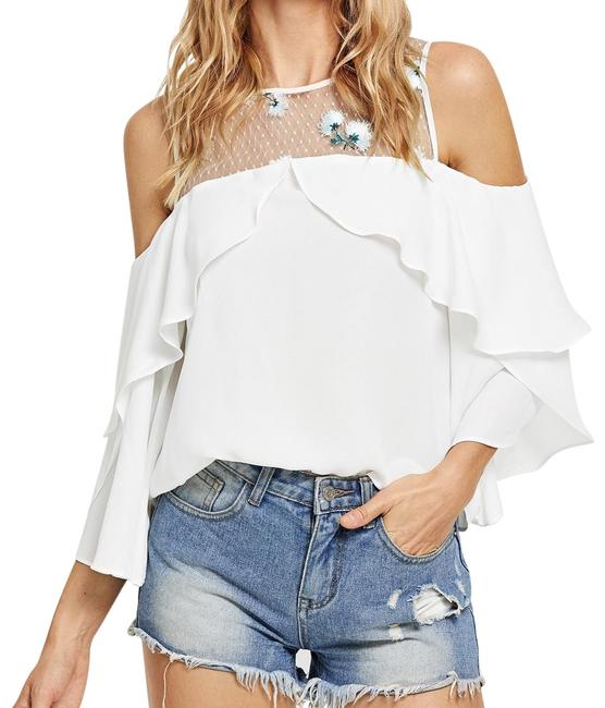 Preload https://img-static.tradesy.com/item/24184039/shein-white-embroidered-mesh-cold-shoulder-ruffle-blouse-size-0-xs-0-1-650-650.jpg