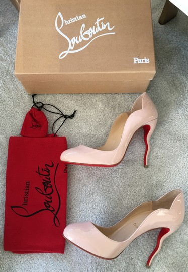 Christian Louboutin Stiletto Red Sole Patent Leather Wawy Nude Pumps Image 1