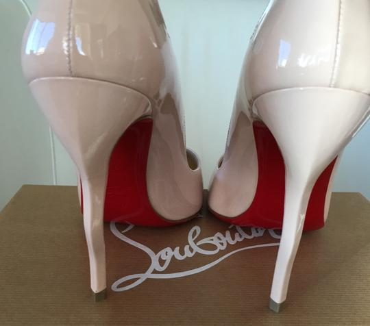 Christian Louboutin Stiletto Red Sole Patent Leather Wawy Nude Pumps Image 5