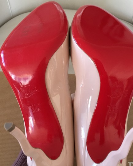 Christian Louboutin Stiletto Red Sole Patent Leather Wawy Nude Pumps Image 7
