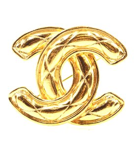 Chanel Extra Large Jumbo CC quilted gold hardware brooch pin charm