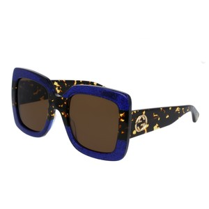 Gucci NEW Gucci 0083S GG0083S Blue Havana Oversized Square Sunglasses