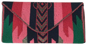 ba&sh Beaded Colorful Ethnic Southwestern Dark pink, light pink, navy blue, green, silver Clutch