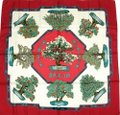 """Hermes New Authentic HERMES BONSAI Silk Twilly White Plant Shawl Scarf 35"""""""