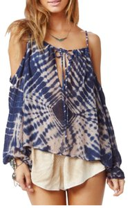 Blue Life Top Ivory splash