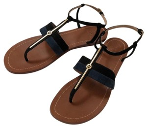 Tory Burch Suede Logo Flat Lancaster Navy & Black Sandals
