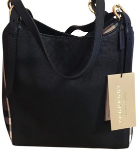 Burberry Tote in Black with check on sides