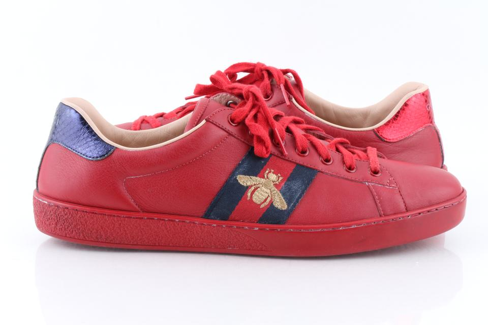 Gucci Red Men\u0027s New Ace Embroidered Low,top Sneakers Shoes 29% off retail