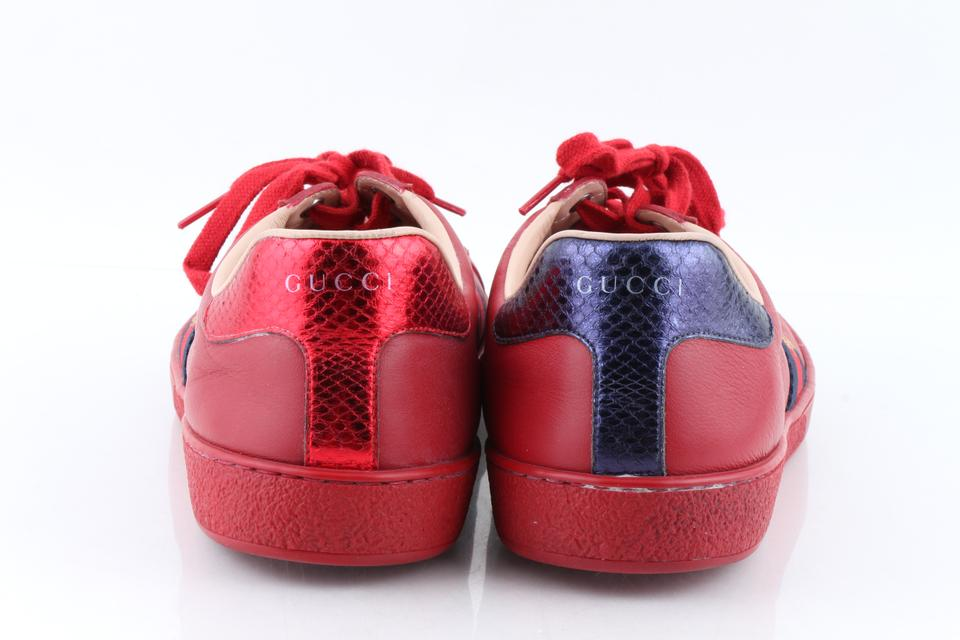 7c6465a4739 Gucci Red Men s New Ace Embroidered Low-top Sneakers Shoes Image 11.  123456789101112