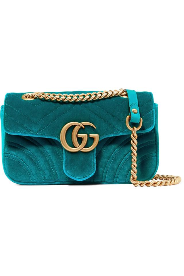 375ab6c7702 Gucci Marmont Gg Mini Quilted Shoulder Blue Velvet   Leather Cross ...
