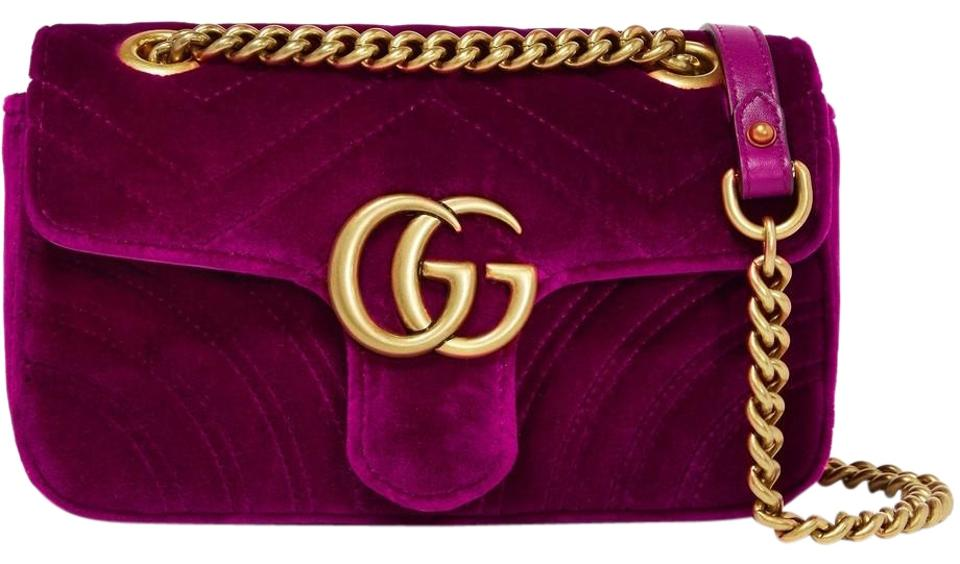 b33484d6e2bc Gucci Shoulder Marmont Gg Mini Quilted Fuchsia Velvet & Leather ...