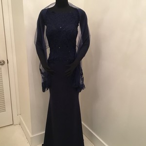 7d4ff95d5b7a2 Cameron Blake Navy Jersey Beaded Lace 118684 Formal Bridesmaid Mob Dress  Size 8 (
