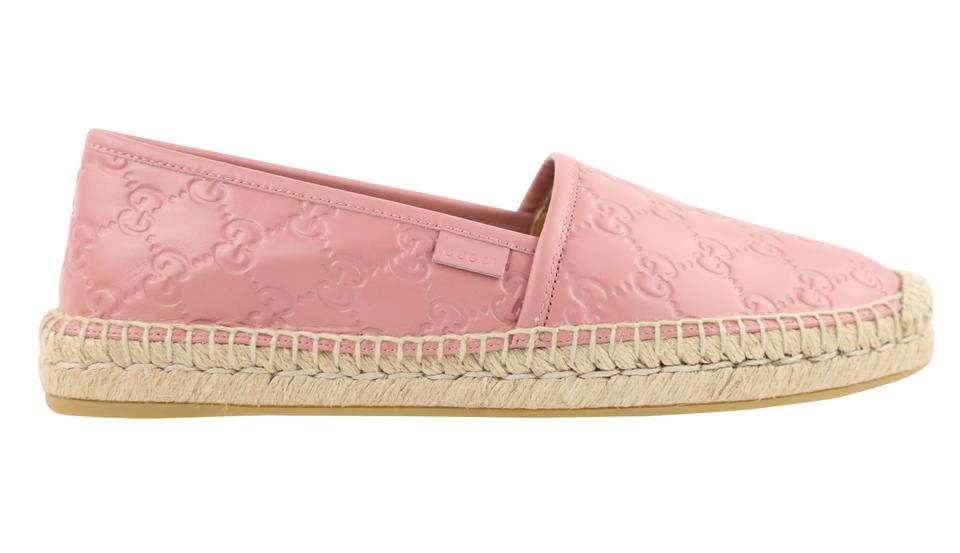 12347a705 Gucci Pink Gg Signature Leather Espadrille Flats Size EU 40 (Approx ...